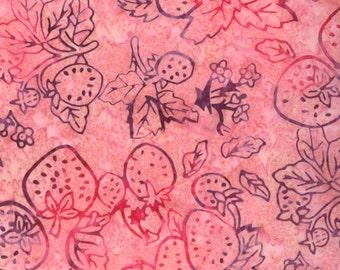 CLEARANCE - Moda Fabrics - Eat Your Fruits and Veggies Batik - Juicy Strawberries on Pink Batik