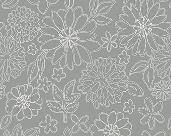 "Gray White ""Wire Flowers Foil"" Cotton Fabric, sold by the 1/2 yard, by Sharon Holland for Art Gallery Fabrics, #GSS 7249 quilting floral AGF"