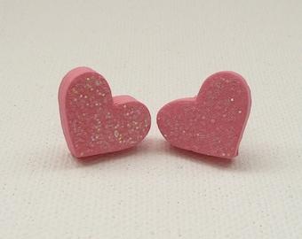 hs-CLEARANCE - Sparkly Pink Heart Stud Earrings