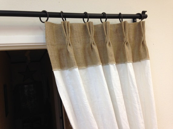 84 Linen Curtains Burlap Curtains Pinch Pleat Panels
