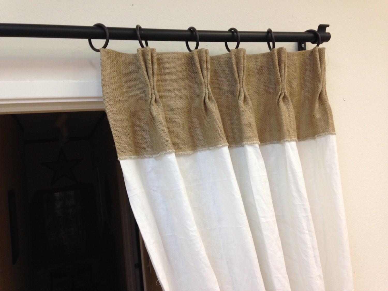 84 Linen Curtains Burlap Curtains Pinch Pleat Panels