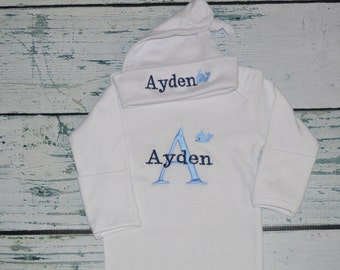 Personalized Infant Gown and Cap set Monogrammed Coming Home Outfit Whale