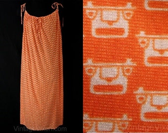 Size 18 Sun Dress Style Tunic - Old-Fashioned Autos 1960s Beach Cover-Up - Large - XL - Orange Deco Novelty Print - Bust up to 44 - 36895
