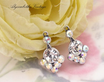 Art Nouveau Swarovski Crystal and AB Crystal Rhinestone Earring Drops Dangles Brass or Antique Silver Settings 20mm Long - 2