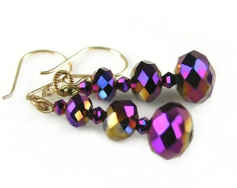 Iridescent Purple Earrings Vintage Style Gold Earrings Plum Purple Crystal Earrings Dark Purple Dangle Earrings