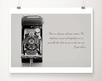 vintage camera photograph vintage camera print inspirational art black and white photography photography quote typography print
