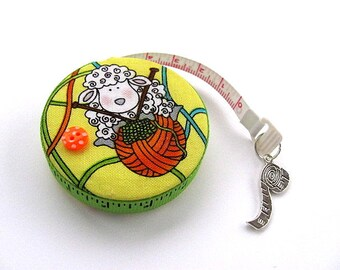 Tape Measure Knitting  Sheep on Yellow Retractable Measuring Tape