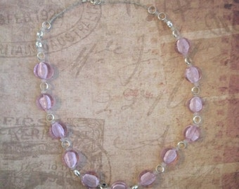 Frosted Pink Disc Necklace