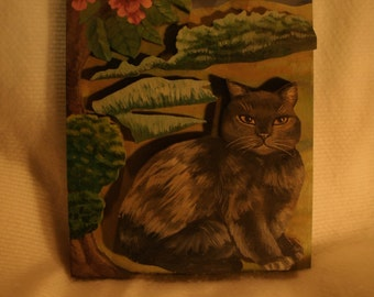 Wooden Painted Cat Wall Hanging