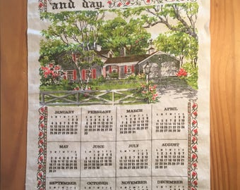 Vintage calendar towel; vintage linen towel; 1970s calendar towel; 1976; vintage printed linen towel; vintage tea towel; vintage kitchen
