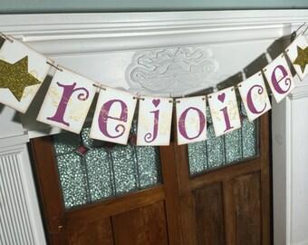 Rejoice Banner, Christmas Sign, Rejoice Sign, Christmas Banner, Mantle decor, Christmas Photo Prop, Christmas Decoration