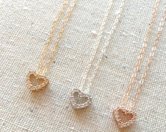 Tiny Rose Gold Heart Necklace, Small Gold CZ Heart Necklace, Silver Heart Necklace, Flower Girl Necklace