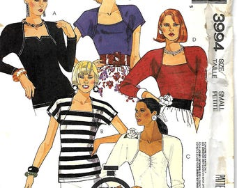 McCall's 3994 60 Minute Pattern, Misses Stretch Knit Tops , Size Small & Med,  UNCUT