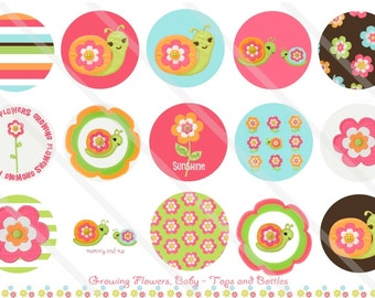 Growing Flowers Baby M2MG 1 Inch Circles Collage Sheet for Bottle Caps, Hair Bows, Scrapbooks, Crafts, Jewelry & More