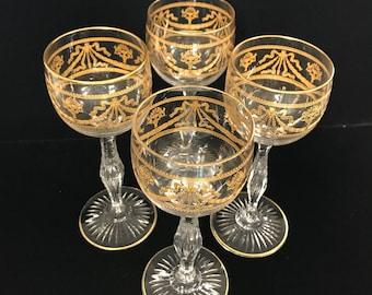 22K Gold Etched Wine Glass Set