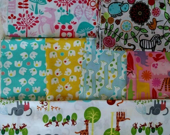 Animal Fabric DESTASH LOT F1039 First 2 Images only. Kids Quilting Cotton Over 3.5 yards total Elephants, Giraffes, etc. More Lots Available
