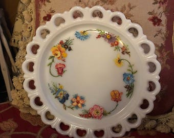 French Country Milk Glass Handpainted Wildflowers Roses Platter