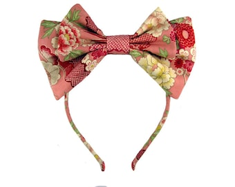 Lolita bow headbow pink wa-loli yukata japanese fabric headband head band alice headdress handmade accessory