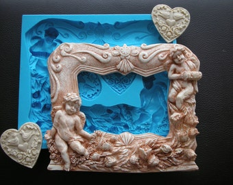 Silicone mold to make this beautiful big frame and 2 hearts with doves Heart mold Frame mold