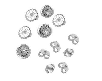 6 Pair Set of Sterling Silver Earring Backs, Earnuts, Clutches, Findings, Supplies