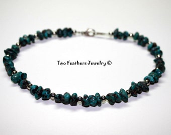 Genuine Turquoise Anklet - Turquoise Nuggets - Beaded Anklet - Turquoise And Silver - Gemstone Anklet - Ankle Bracelet - Gift For Her