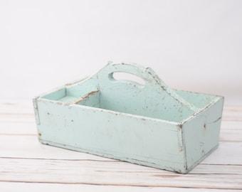 Vintage Blue Green Wood Tool Box Wood Handmade Vintage Wood Tool Tote Tool Chest