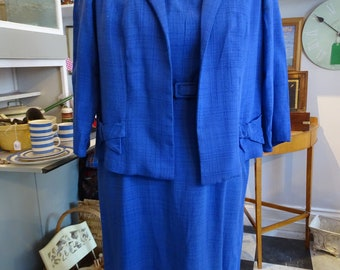 Original Vintage 1950s Philip Kunick Lady's Suit Blue