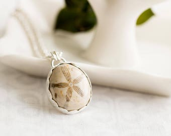 Fossilized Sand Dollar Necklace, Real Sand Dollar Jewelry, Sea Biscuit Necklace, Sterling Silver Sand Dollar Necklace, Ocean Lover Gift,