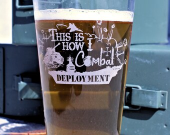 Military Gifts, Army Wife, Deployment Glass, This is How I Combat Deployment, Survival Glass, Navy, Marines ,Military Wife