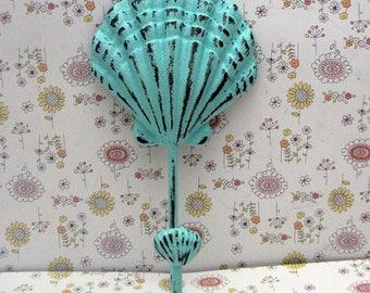 Sea Shell Cast Iron Cottage Chic Beachy Light Blue Coat Leash Keys Key Hat Jewelry Towel Hook Nautical Beach Shabby Elegance Seashell