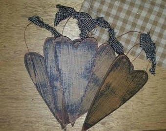 Primitive Wood Heart in Mustard, White or Burgundy