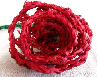 Red Crocheted Raffia Roses in Bloom
