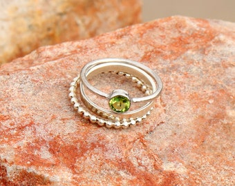 Natural Green Peridot Sterling Silver Ring - Green Peridot Ring - Peridot Jewelry - Amazing Handmade Stacking Cut Ring Jewelry - 3 Set Ring