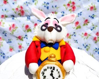 Alice in wonderland Cake Topper Fondant/MADE TO ORDER/white rabbit cake topper/white rabbit with clock/cake topper/party centerpiece