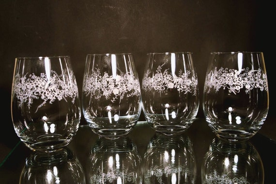 Stemless wine Glasses set of 4, stemless. Wine, vino, engraved, floral, homedecor, handengraved, wineglasses