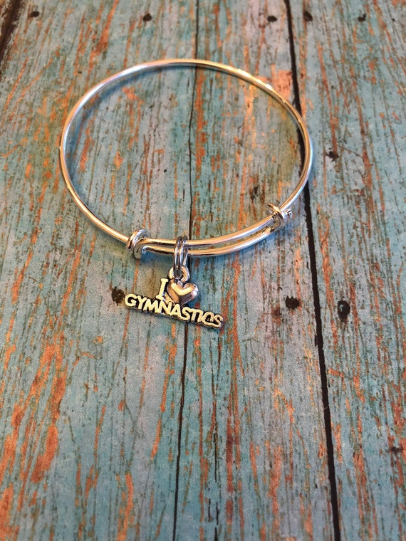 Child's size bangle bracelet with I love gymnastics