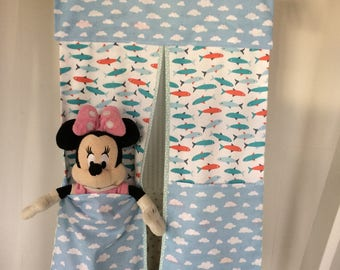 Clouds/Fish Nappy Stacker/Toy Storage for a boy or girl. Ideal baby shower gift.