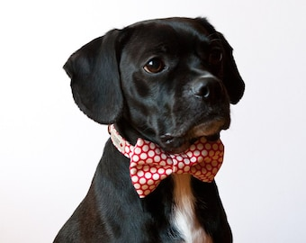 Red Honeycomb Bow Tie Dog Collar