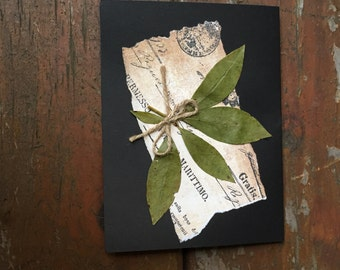 Rustic all-occasion card, collage with vintage paper, and pressed leaves, rustic thank you, rustic birthday card, Thanksgiving card, woodlan