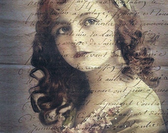 French girl on French papers.Two 5x7 fabric blocks. Quilting, sewing,collage,decoupage.Gorgeous