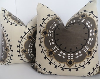 Meadallion Band Pillow covers, Brown Beige Pillow Covers, Suzani Pillow covers