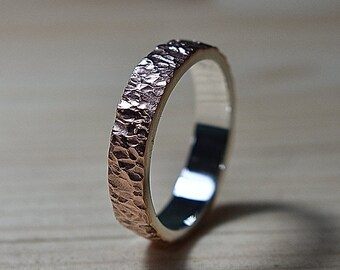 Copper Wedding Ring for Men, Copper Meteorite Ring, Mens Copper Ring, Mens Rustic Wedding Ring, Textured Copper Wedding Band