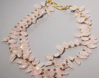Rose Quartz Gold Necklace -Two Strand Rose Quartz Necklace -Teardrop Necklace -Pink Necklace -MultiStrand Necklace -Gift with WOW factor