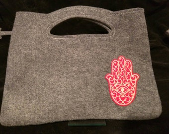 Grey felt bag with  sparkly red and gold embroidered hamsa patch .   Ready to ship