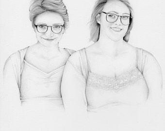 Custom Portrait Drawing Hand Drawn Pencil Drawing Portrait Custom Portrait from Photo Custom Siblings Gift Custom Siblings Portrait Sisters
