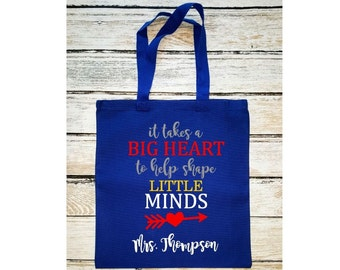 Teacher's Tote Bag, It Takes a Big Heart to Help Shape Little Minds, Teacher Bag with Name, Teacher Gift, Canvas tote, Book Bag