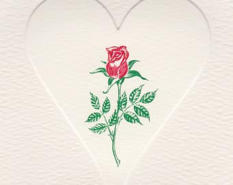 Red Rose in Embossed Heart Foldover Note