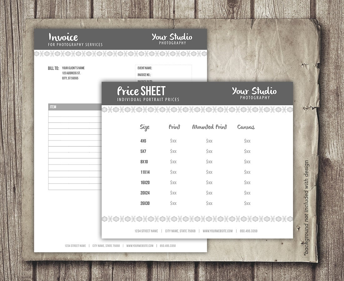 Photography Business Forms Invoice Form And Portrait Pricing - Etsy invoice template