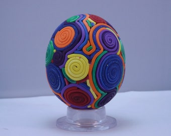 Colorful Rainbow Spirals Polymer Clay Covered Egg