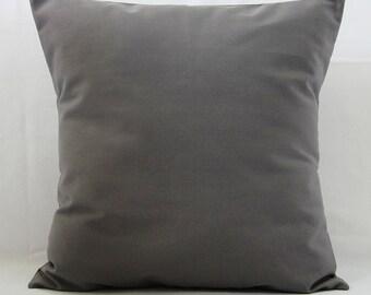 Gray Pillow Cover, Dark Gray Pillow, Decorative Throw Pillow, Solid Gray Pillow, 16x16 Zipper